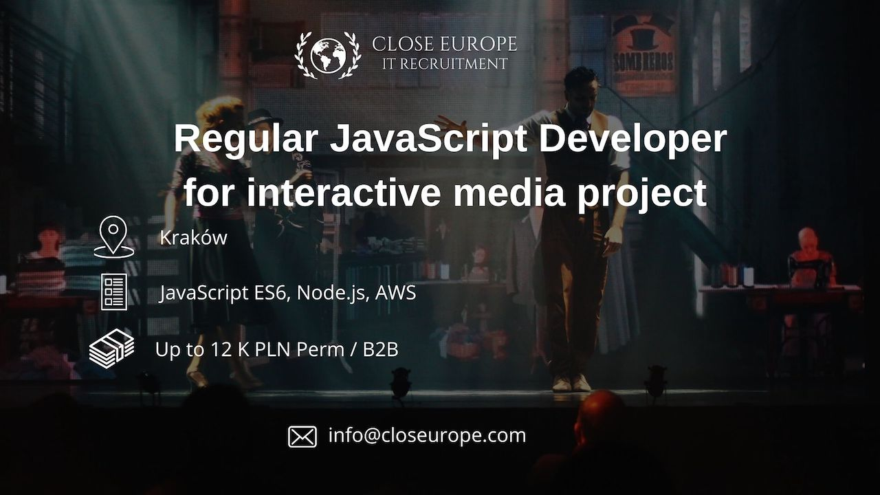 Regular JavaScript Developer in media, TV project | Krakow