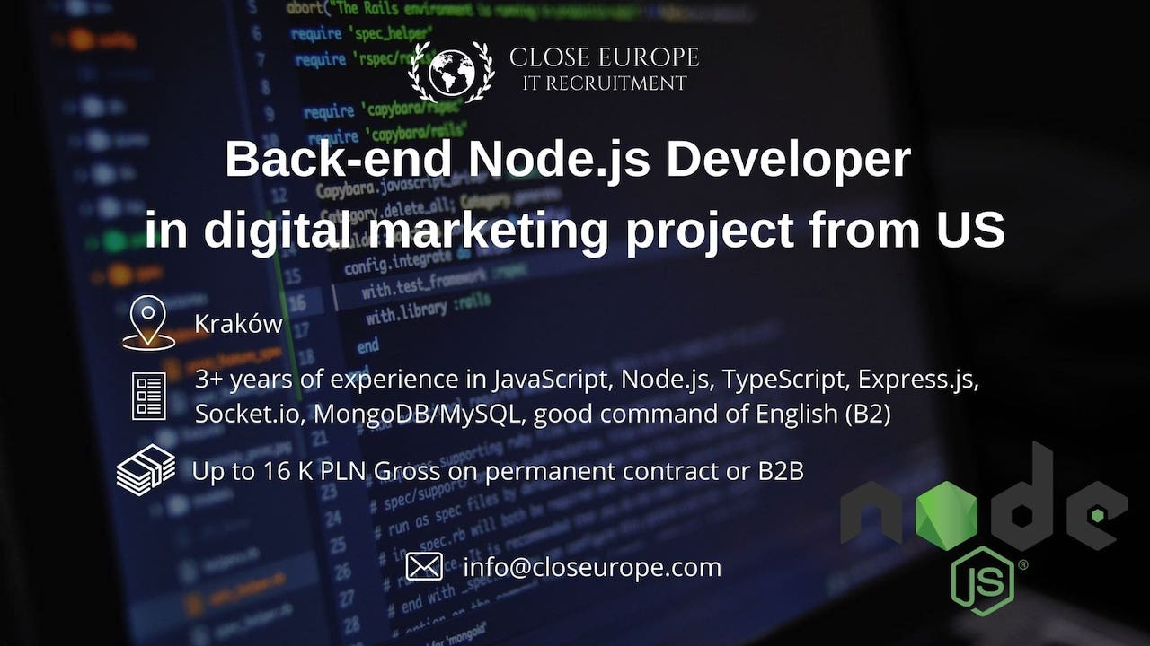 Node.js backend Developer in digital marketing project from the US | Krakow - Close Europe IT Recruitment. Photo: Pexels.