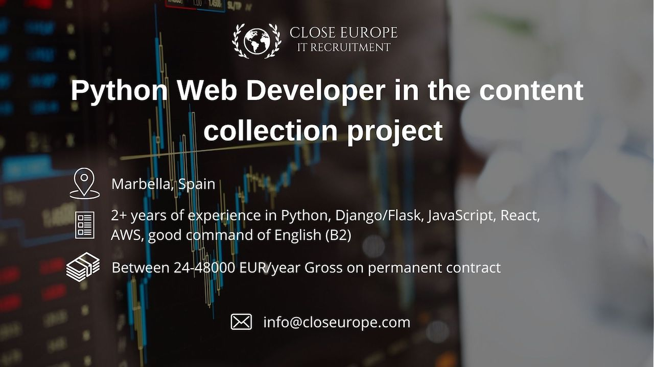 Python Web Developer in the content collection sector | Relocation to Marbella, Spain - Close Europe IT Recruitment. Photo: Pexels.