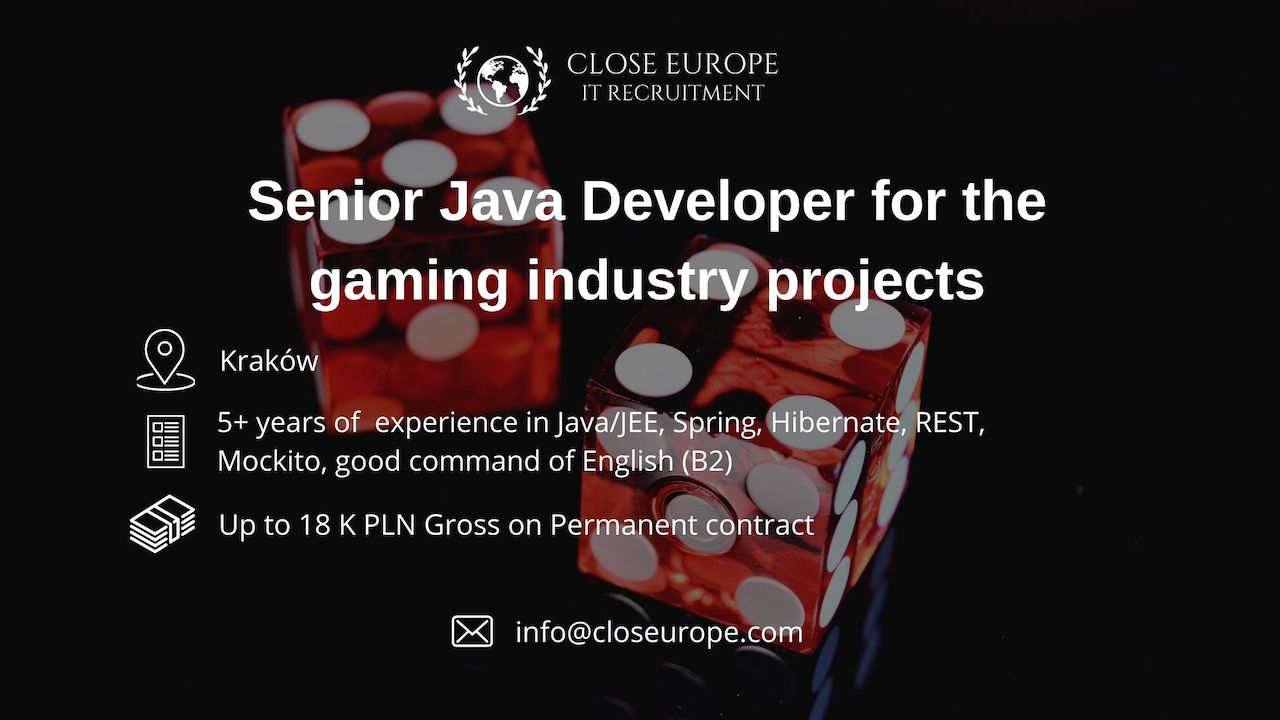 Senior Java developer in gaming industry projects | Kraków. Close Europe IT Recruitment. Photo: Pexels.