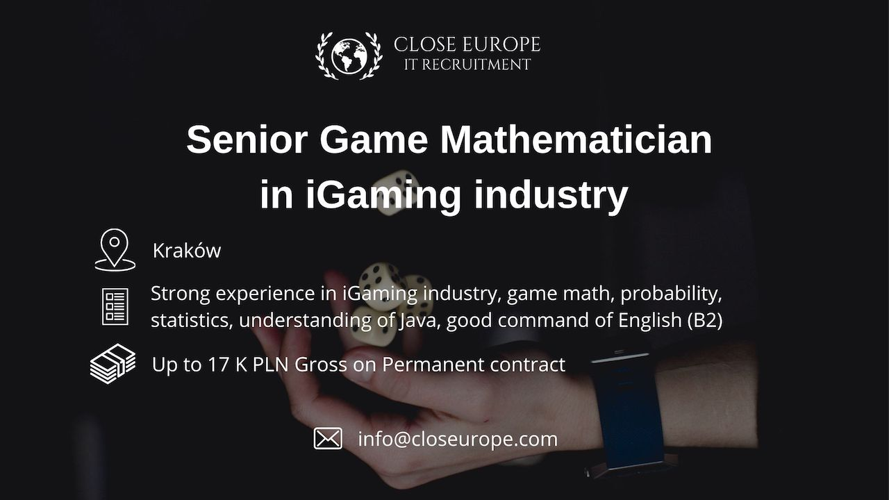 Senior Game Mathematician in iGaming industry | Kraków. Close Europe IT Recruitment. Photo: Pexels