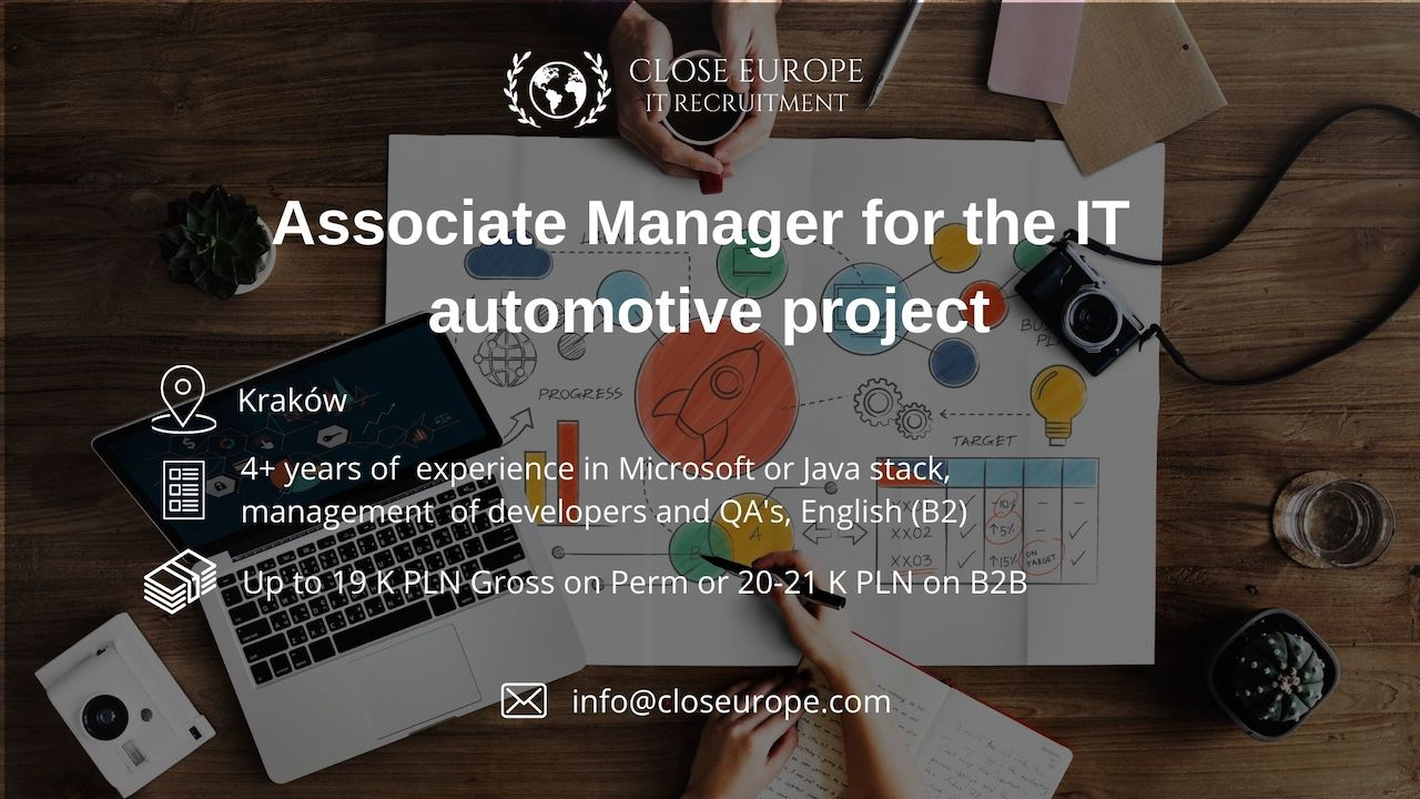 Associate Manager in the automotive industry | Kraków. Close Europe IT Recruitment. Photo: Pexels