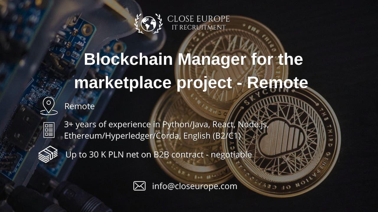 Blockchain Manager for digital marketplace project. Close Europe IT Recruitment. Photo: Unsplash