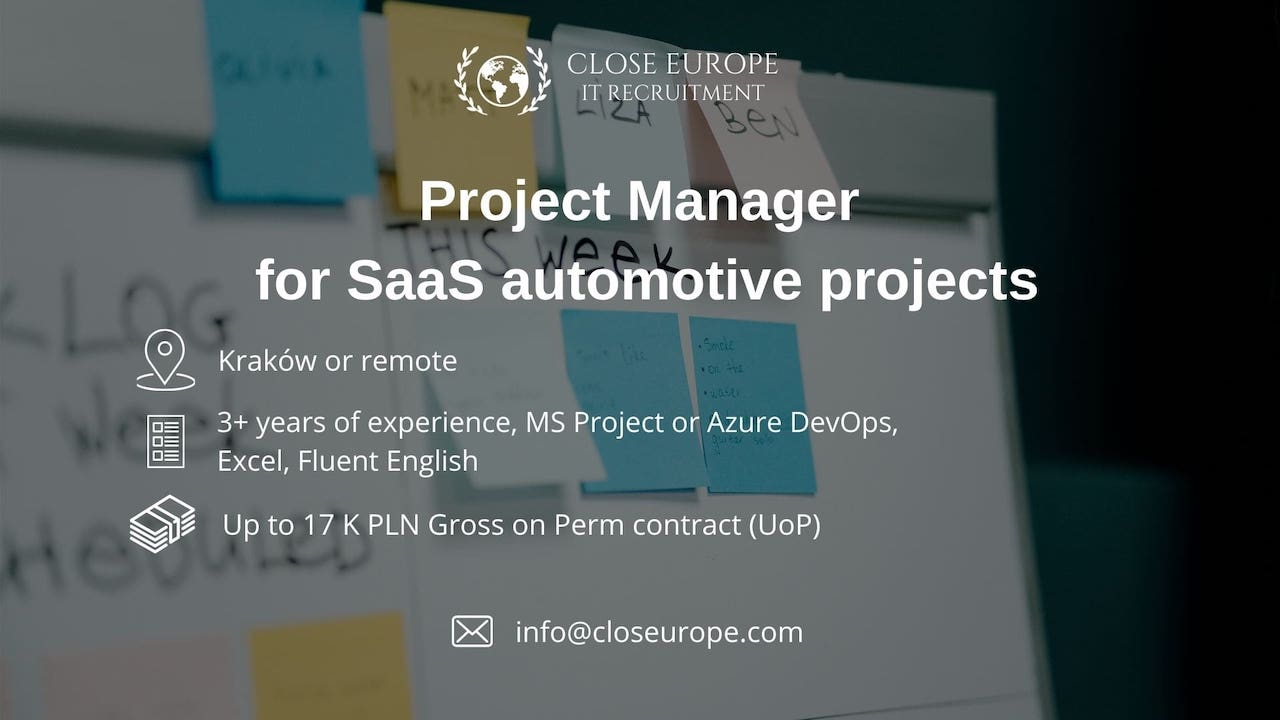 IT Project Manager for theSaaS automotive projects | Kraków or remote. Close Europe IT Recruitment. Photo: Pexels.