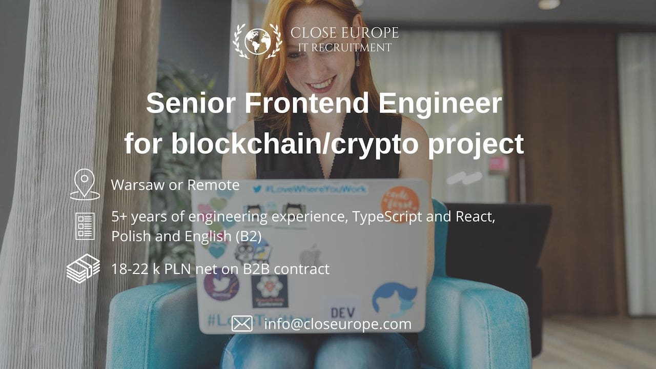 Senior Frontend Engineer for blockchain & crypto project. Close Europe IT Recruitment. Photo: Pexels