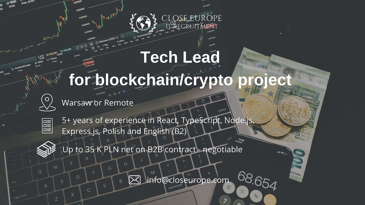 Tech Lead for blockchain & crypto project. Close Europe IT Recruitment. Photo: Pexels