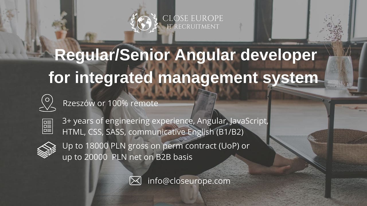 Angular Developer for the integrated management system. Close Europe IT Recruitment. Photo: Pexels