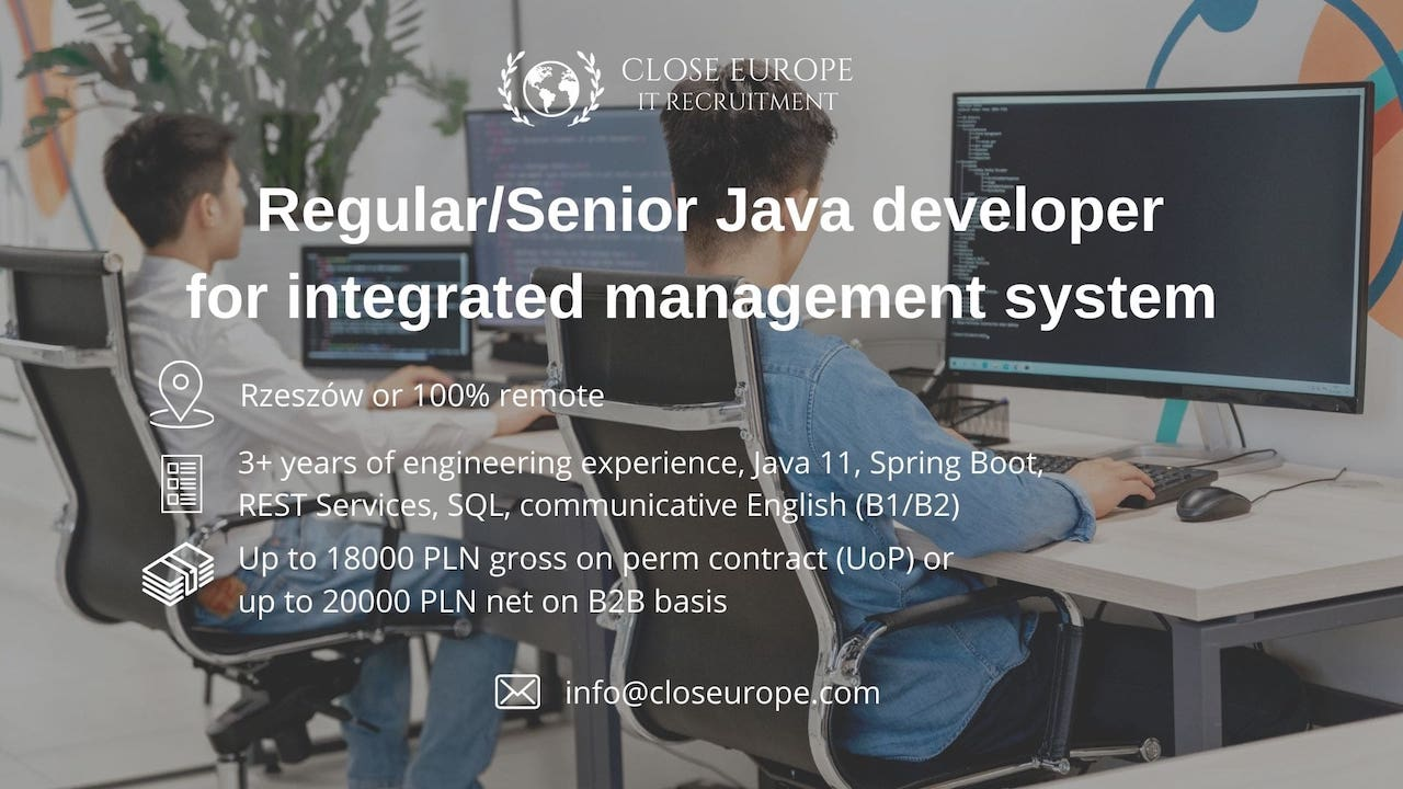 Java Developer for the integrated management system. Close Europe IT Recruitment. Photo: Pexels
