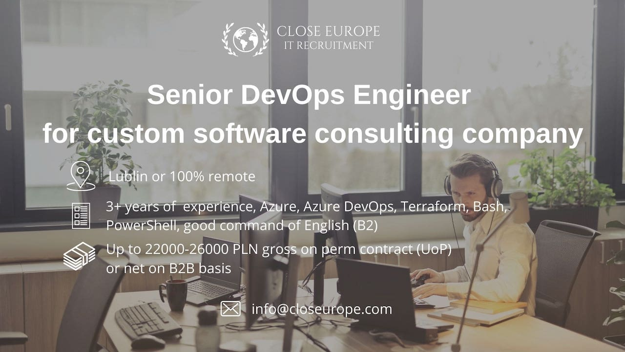 SeniorDevOps Engineer for custom software consulting company. Close Europe IT Recruitment. Photo: Pexels